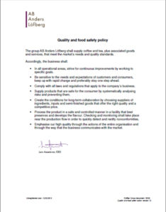 Quality and food safety policy version 13p